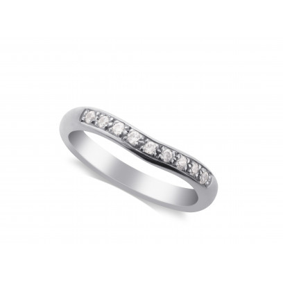 Ladies Paladium Diamond Set Shaped Wedding Ring