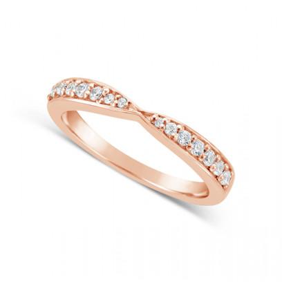 Ladies 18ct Gold Cross Over Diamond Set Wedding Ring