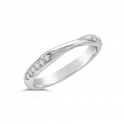 Ladies 9ct Gold Cross Over Diamond Set Wedding Ring