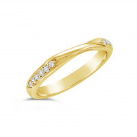 Ladies 18ct Gold Cross Over Diamond Set Wedding Ring