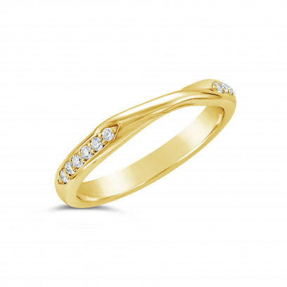 Ladies 9ct Gold Cross Over Diamond Set Wedding Ring