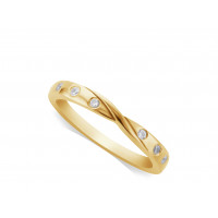 Ladies 18ct Gold Diamond Set ShapedWedding Ring