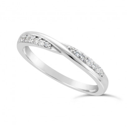 Ladies Paladium Diamond Set ShapedWedding Ring