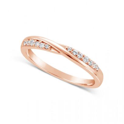 Ladies 18ct Gold Diamond Set ShapedWedding Ring