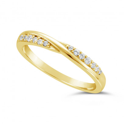 Ladies 9ct Gold Diamond Set ShapedWedding Ring