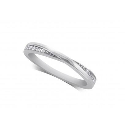 Ladies Palladium Diamond Set Shaped Wedding Ring