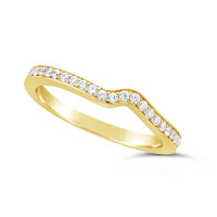 Ladies 18ct Gold Diamond Set Shaped Wedding Ring