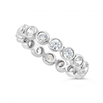 Ladies Platinum Rubover Diamond Eternity Ring