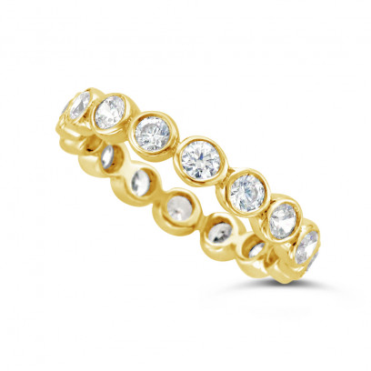Ladies 18ct Gold Rubover Diamond Eternity Ring