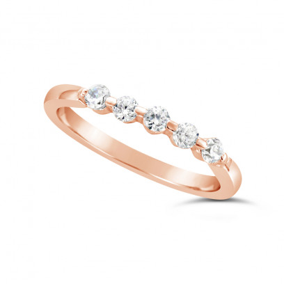 Ladies 9ct Gold 5 Stone Diamond Set Wedding Ring