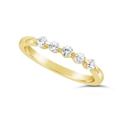 Ladies 9ct Gold 5 Stone Diamond Set Wedding Ring