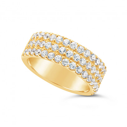 Ladies 9ct Gold 3 Row Diamond Set Wedding Ring