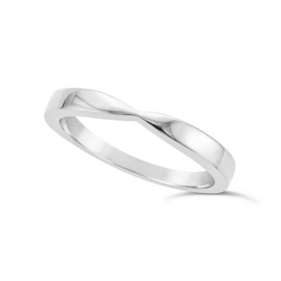 Ladies Palladium Shaped Wedding Ring
