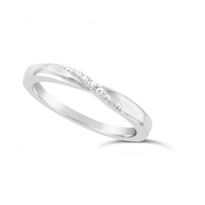Ladies Platinum Diamond Set Shaped Wedding Ring
