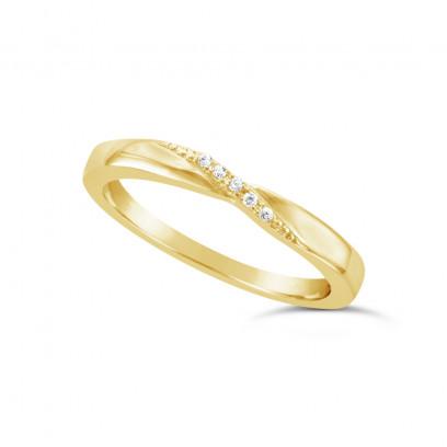 Ladies 9ct Gold Diamond Set Shaped Wedding Ring