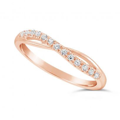 Ladies 18ct Gold Diamond Set Shaped Wedding Ring