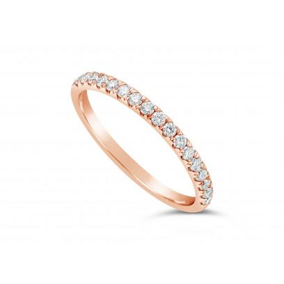 18ct Rose Gold Ladies 0.34ct Pave Set Wedding Ring