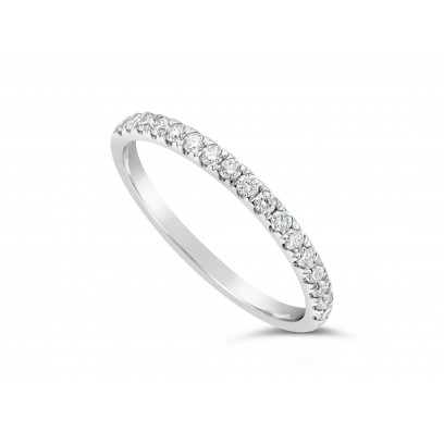 Platinum Ladies 0.34ct Pave Set Wedding Ring