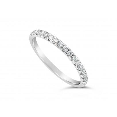 9ct White Gold Ladies 0.34ct Pave Set Wedding Ring