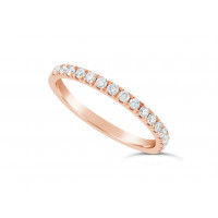 18ct Red Gold Ladies 0.33ct Pave Set Wedding Ring