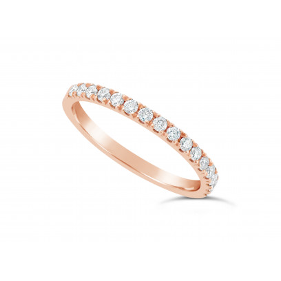9ct Red Gold Ladies 0.33ct Pave Set Wedding Ring