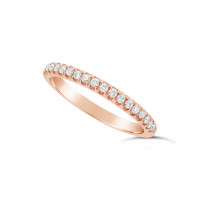 9ct Red Gold Ladies 0.20ct Pave Set Wedding Ring
