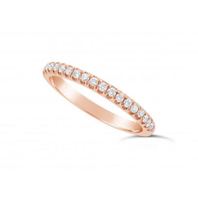9ct Red Gold Ladies 0.20ct Pave Set Wedding Ring