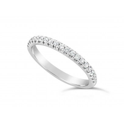 Platinum Ladies 0.20ct Pave Set Wedding Ring