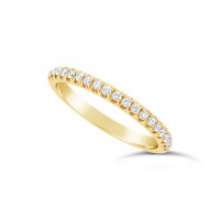 18ct Yellow Gold Ladies 0.20ct Pave Set Wedding Ring
