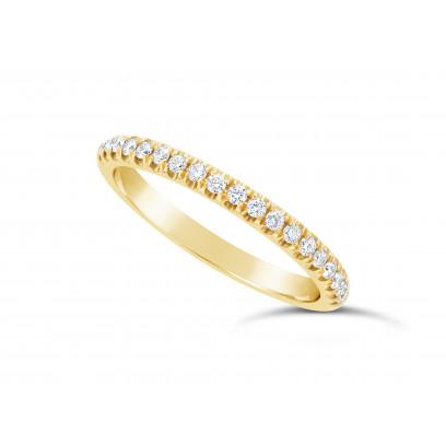 18ct Yellow Gold Ladies 0.20ct Pave Set Wedding Ring