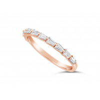 Fine Quality 18ct Rose Gold Unique Tapered Baguette Shape Wedding Band Set With 10 Diamonds, Total Diamond Weight 0.56ct
