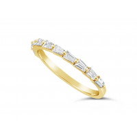 Fine Quality 18ct Yellow Gold Unique Tapered Baguette Shape Wedding Band Set With 10 Diamonds, Total Diamond Weight 0.56ct