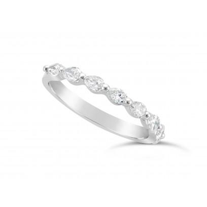 Fine Quality Platinum Unique Pear Shape Wedding Band Set With 8 Diamonds, Total Diamond Weight 0.50ct