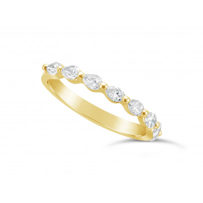 Fine Quality 18ct Yellow Gold Unique Pear Shape Wedding Band Set With 8 Diamonds, Total Diamond Weight 0.50ct