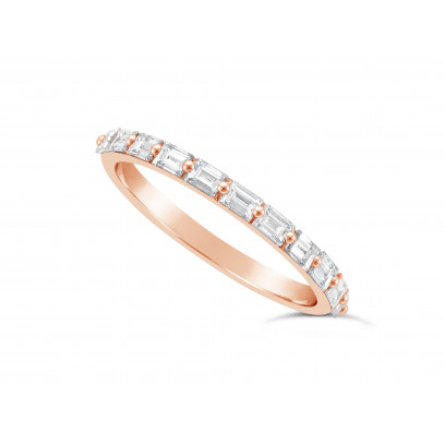 Fine Quality 18ct Rose Gold Unique Narrow Baguette Wedding Band Set With 11 Diamonds, Total Diamond Weight 0.60ct