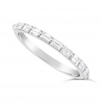Fine Quality Platinum Unique Narrow Baguette Wedding Band Set With 11 Diamonds, Total Diamond Weight 0.60ct