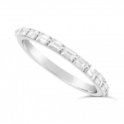 Fine Quality 18ct White Gold Unique Narrow Baguette Wedding Band Set With 11 Diamonds, Total Diamond Weight 0.60ct