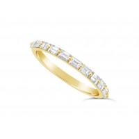 Fine Quality 18ct Yellow Gold Unique Narrow Baguette Wedding Band Set With 11 Diamonds, Total Diamond Weight 0.60ct