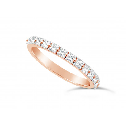 Fine Quality 18ct Rose Gold Unique Narrow Princess Cut Wedding Band Set With 13 Diamonds, Total Diamond Weight 0.70ct