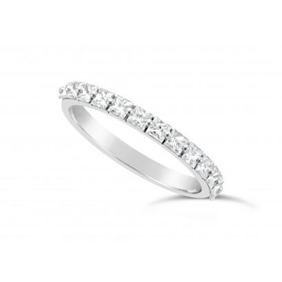 Fine Quality Platinum Unique Narrow Princess Cut Wedding Band Set With 13 Diamonds, Total Diamond Weight 0.70ct