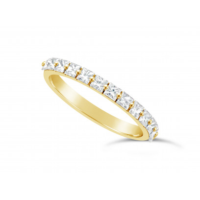 Fine Quality 18ct Yellow Gold Unique Narrow Princess Cut Wedding Band Set With 13 Diamonds, Total Diamond Weight 0.70ct