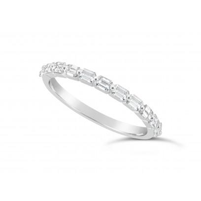 Fine Quality Platinum Unique Narrow Emerald Cut Wedding Band Set With 11 Diamonds, Total Diamond Weight 0.60ct