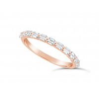 Fine Quality 18ct Rose Gold Unique Narrow Emerald Cut Wedding Band Set With 11 Diamonds, Total Diamond Weight 0.60ct