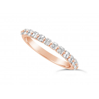 Fine Quality 18ct Rose Gold Unique Narrow Asscher Cut Wedding Band Set With 13 Diamonds, Total Diamond Weight 0.75ct