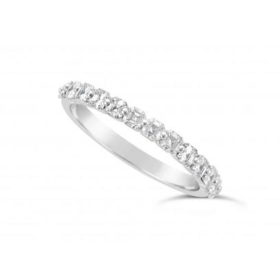 Fine Quality Platinum Unique Narrow Asscher Cut Wedding Band Set With 13 Diamonds, Total Diamond Weight 0.75ct