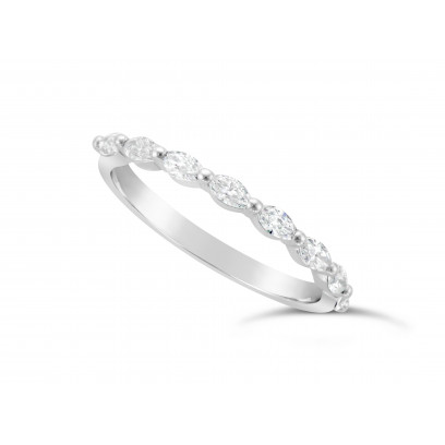 Fine Quality 18ct White Gold Unique Narrow Marquise Cut Wedding Band Set With 8 Diamonds, Total Diamond Weight 0.50ct