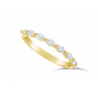Fine Quality 18ct Yellow Gold Unique Narrow Marquise Cut Wedding Band Set With 8 Diamonds, Total Diamond Weight 0.50ct
