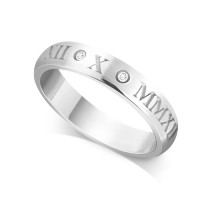 18ct White Gold Ladies 4mm Roman Numerical Court Shape Wedding Ring Set with 2 Diamonds in between the Roman Numericals with Date of your Choice
