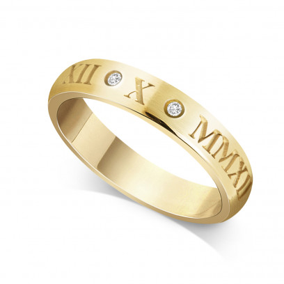 9ct Yellow Gold Ladies 4mm Roman Numerical Court Shape Wedding Ring Set with 2 Diamonds in between the Roman Numericals with Date of your Choice