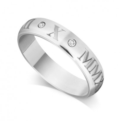 9ct White Gold Gents 5mm Roman Numerical Court Shape Wedding Ring Set with 2 Diamonds in between the Roman Numericals with Date of your Choice